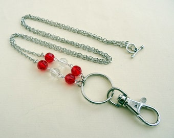 Beaded id badge lanyard red beads silver chain glasses holder key ring