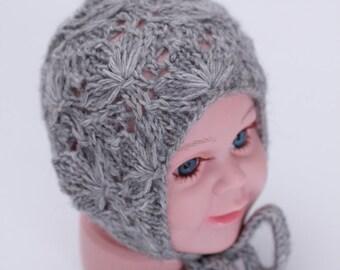 knit flower lace bonnet, newborn bonnet, baby bonnet, grey bonnet, newborn photo prop, photography prop, ready to ship, rts, flower hat