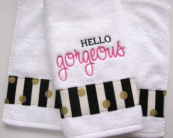 Bath Towels, Hello Gorgeous, handsome, Hi There Handsome, Gorgeous, Bath towels, bathroom decor, august ave, bling towel, bling bathroom,
