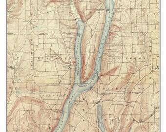Keuka Lake - 1903 USGS Old Topographic Map  Custom Composite Reprint New York Finger Lakes