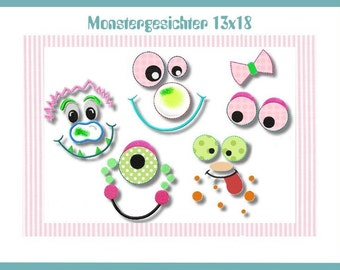 Embroidery file 13 x 18 Monster faces application