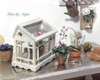 Greenhouse. Dollhouse miniature greenhouse. Dollhouse tabletop greenhouse