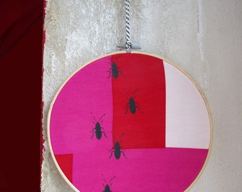 Cockroaches, embroidery hoop art, screen printed by hand