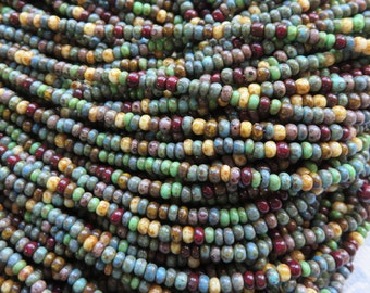 Aged Blue and Green Turquoise Picasso 8/0 Bead Mix, 2 Strands - Item 3368