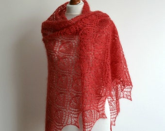 Red hand knitted lace shawl silk luxury triangular wrap mohair handmade