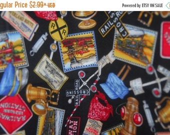 SALE 15% OFF Fabric Train and Railroad Fabric by Dan Morris for RJR - Just Train Crazy - 100 Percent Quality Cotton