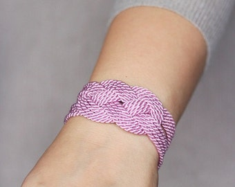 Pink Knot Bracelet, Rope Knot Bracelet, Pink Rope Bracelet,Knot Bracelet,Nautical Bracelet,Sailor Knot Bracelet,Nautical Knot,Rope Jewelry