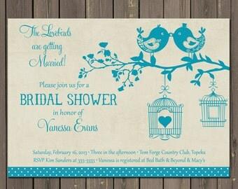 Bird Bridal Shower Invitation, Teal Lovebirds Bridal Shower Invitation, Birdcage Bridal Shower Invite, Bird Wedding Shower