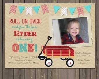 Wagon Birthday Invitation, Wagon 1st Birthday Party Invitation, Vintage look Wagon Invitation,, red and teal, printable or DIY