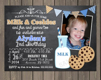 Milk and Cookies Invitation, Cookie Party Invitation, Chalkboard Birthday Invitation, Boys Birthday Party Invite, Printable or Printed