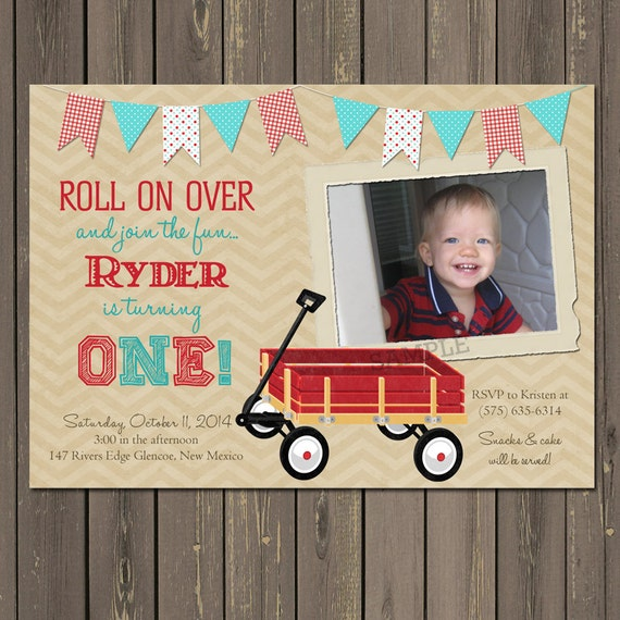 Wagon Birthday Invitation Wagon 1st Birthday Party Invitation – Red Wagon Birthday Invitations