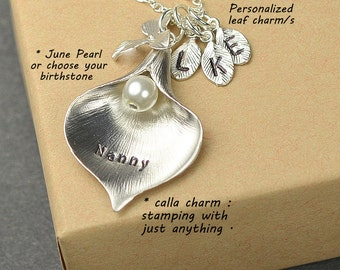 Grandma gifts,grandmother necklac,mom ,personalized , 2 3 4 5 -16 initials & birthstone,Necklace .Monogrammed Gift Gifts ,granny,grammy,nana