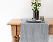 Light Grey Stone Washed Linen Table Runner With Fringes