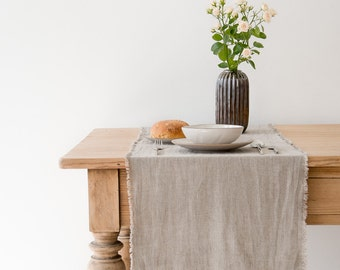 Natural Stone Washed Linen Table Runner With Fringes