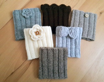 Boot Cuffs, Hand Knit Boot Cuffs Wool Yarn Choose Your Color And Style