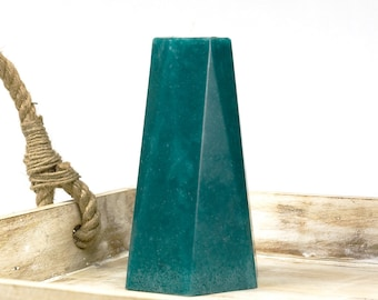 "Teal Pillar Candle 6"" Tall Hexagon - Teal Interior Decor - Modern Decor"