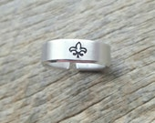 Hand Stamped Aluminum with Fleur De Lis Design Only