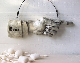 Baño Pointing Finger.  Fired Ceramic.  Recycled Clay.  Bathroom Sign.