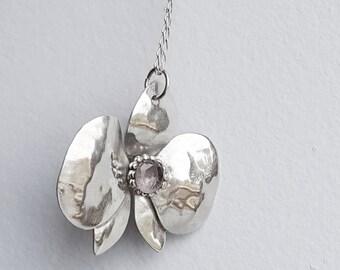 Amethyst orchid pendant