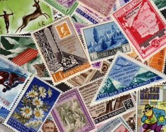 50 Diff San Marino Stamps, San Marino, Stamps, Stamp Collection, Postage Stamps, San Marino Postage Stamps, Lot of Stamps, Postage Stamps