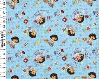 Dora Blue ~Custom Made~ Fitted Crib/Toddler Sheets and Pillow Cases