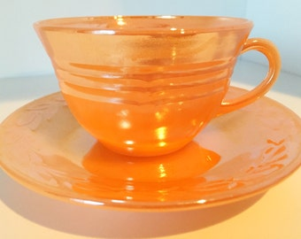 Fire King Peach Luster Tea Cup and Saucer - Anchor Hocking Laurel Leaf Pattern