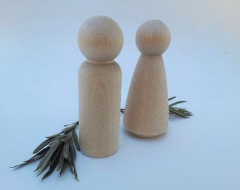 Wooden Peg Dolls / Bride and Groom / Peg People / Wedding Cake Topper / Unfinished Maple Ready to Paint