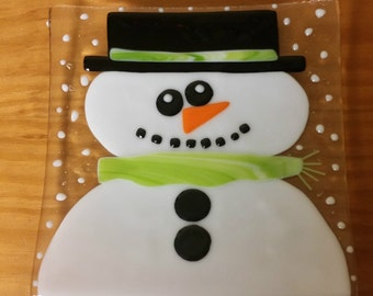Fused Glass - Art Glass Holiday Snowman Plate - One of a Kind!