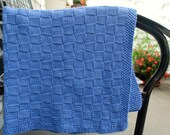 Knit Baby Blanket in Blue - Cotton Knit Baby Blanket - Baby Shower Gift - Newborn Photo Prop - Swaddling Blanket - Blue Stroller Blanket