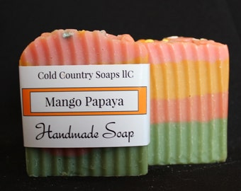 Mango Papaya Soap Handmade Tropical
