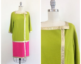 60s Mod Judd's Green and Pink Colorblock Dress / 1960s Vintage Color Block Drop Waist Gold Metallic Ribbon Dress /  Large / Size 10