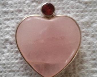 Large Rose Quartz and Garnet Heart Pendant