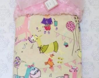Llama Minky Baby Blanket, Llama Pajama Party,  Minky Baby Blanket, Personalized Baby Blanket