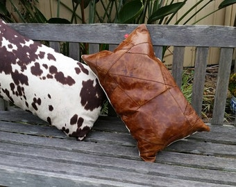 Genuine Cracked Leather Cushion. Patchwork.  styling, Handmade by Kittyandzac Australia