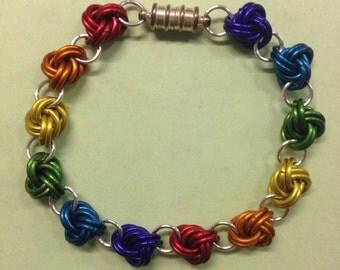 LGBT pride rainbow chainmaille bracelet