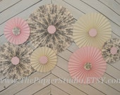 Toile, Pink and Cream Set of Seven (7)  paper fans/rosettes