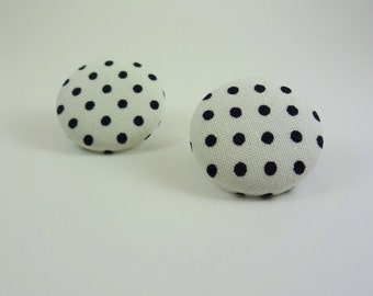 White and Black Polka Dot Fabric Button Earrings
