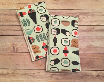 Sushi baby burp cloths - set of 2