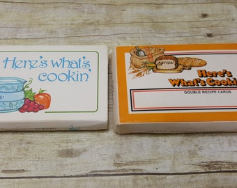 Recipe Cards, Set of 2, 1970s, vintage recipe cards, Heres whats cooking