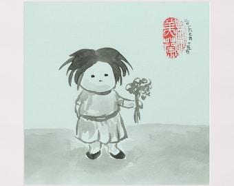 Little girl offering flowers