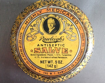 Vintage Art Nouveau Salve Yellow, Orange, & Black Tin