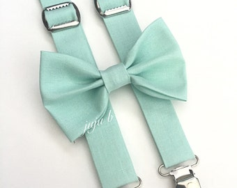 Mint Suspender and Bow Tie Set, seafoam Suspender, Mint Suspenders, Aqua Bow Tie Set, Aqua Bow Tie and Suspenders, Mint wedding