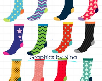 INSTANT DOWLOAD   Crazy Socks Clipart  Scrapbook for Personal and Commercial Use