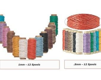 12 Mini Spool Set - 0.5mm 1mm Hemptique Polished Hemp Cord Twine Macrame String