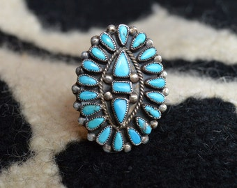 Fantastic JM Begay Bisbee Turquoise and Sterling Silver Cluster ring size 9