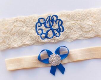 Personalized Garter | Monogrammed Garter | Royal Blue Garter | Garters | Plus Size Bridal