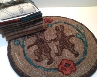 "Primtive Rug Hooking Kit for ""Dancing Rabbits""  14 "" Chair Pad  K102"
