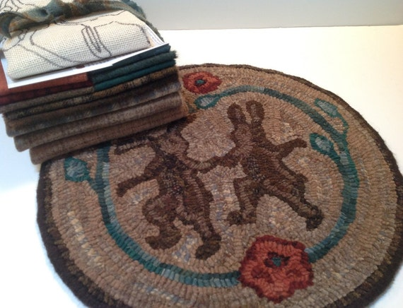 "Primtive Rug Hooking Kit for ""Dancing Rabbits""  14 "" Chair Pad  K102"