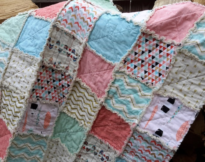 Rag Quilt Blanket - Shabby Chic Feathers and Arrows Gold Flecks - Coral, Teal, Blue, Triangles - Modern Blanket - Ready to Ship Now