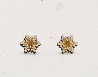 Starflower Eco-Friendly Birch Stud Earring